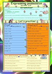 English Worksheet: Expressing possession with of  *** 3 tasks *** key *** fully editable
