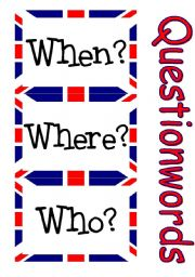 English Worksheets: Simple Flashcards Set - Question Words for Beginners