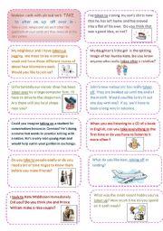 English Worksheet: Conversation cards (1) focusing on the phrasal verb TAKE.