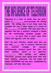 English Worksheets: THE INFLUENCE OF TELEVISION. READING COMPREHENSION