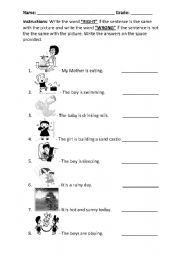 English Worksheets: Right or Wrong / True or False (identifying the picture)