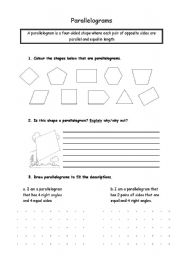 english worksheets parallelograms. Black Bedroom Furniture Sets. Home Design Ideas
