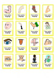 English Worksheet: Memory game - body part (Part 2 - final)