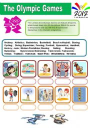 English Worksheet: LONDON 2012 - OLYMPIC GAMES (2 pages)