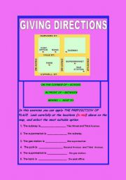 English Worksheet: GIVING DIRECTIONS AND PREPOSITIONS OF PLACE WITH KEY INCLUDED
