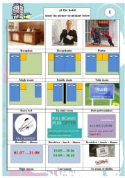 English Worksheet: At the hotel (Part 01) - pictonary theory