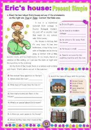 English Worksheets: Eric�s House  -  Reading + Writing