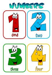 English Worksheet: Numbers 1-10 flashcards
