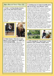 English Worksheets: More recent news clips (5)