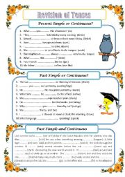 English Worksheets: Revision of tenses (3 pages, editable with key)