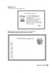 Excellent Writing A Birthday Invitation Card Esl Worksheet By Funny Birthday Cards Online Elaedamsfinfo