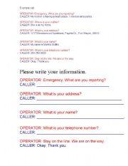 English Worksheets: 911 call