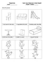 English Worksheets: Prepositions_drawing animals