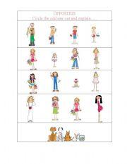 English Worksheet: Opposites- pre kinder