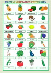 image relating to Printable Fruit and Vegetables identified as FRUIT AND Veggies PICTIONARY - ESL worksheet as a result of stefania.r