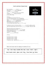English Worksheets: Don�t look back in anger by Oasis