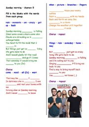 English Worksheets: Filling in the blanks song : Sunday morning (Maroon 5) - with answer key