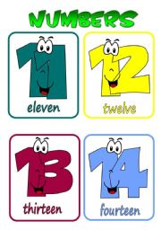 English Worksheet: Numbers 11-20 flashcards