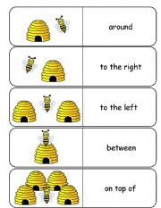 English Worksheet: Where is the Bee Preposition Dominoes and Memory Cards  Part 1 of 3
