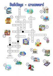 English worksheet: Buildings - crossword with key