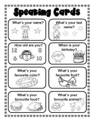 English Worksheet: 16 Speaking cards (2 pages) fully editable