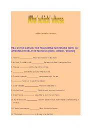 English Worksheets: relative pronouns who which whose