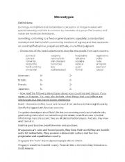 English Worksheet: Stereotypes - Englishman in New York (fully editable)
