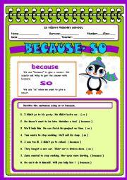 English Worksheets: so because