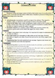 English Worksheet: Persuasive writing worksheet