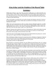 English Worksheet: King Arthur and the Knights of the Round Table  Summary