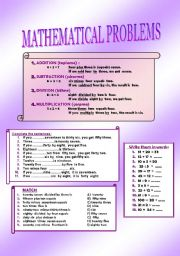 English Worksheets: MATHEMATICAL PROBLEMS