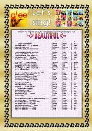 English Worksheet: GLEE SERIES �SONGS FOR CLASS! S01E16 � THREE SONGS � FULLY EDITABLE WITH KEY! � PART 2/2
