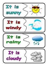 English worksheets: weather puzzle flashcards