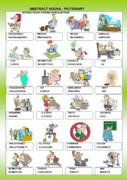 English Worksheet: ABSTRACT NOUNS - PICTIONARY + B&W