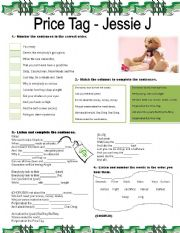 English Worksheet: Price Tag- Song