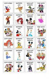 English Worksheet: Stickers Disney