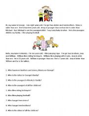 English Worksheets: Reading Comprehension for Young Learners