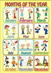 English Worksheet: MONTHS OF THE YEAR - Poster