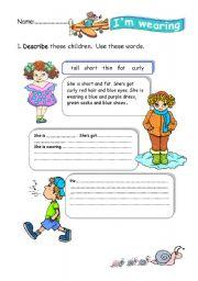 English teaching worksheets: Describing clothes
