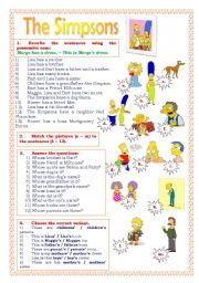 English Worksheet: Possessive case. (The Simpsons)