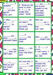 SIGNAL WORDS for 6 VERB TENSES