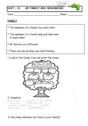 English Worksheet: family and neighbours