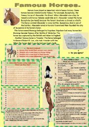 English Worksheets: READING-COMPREHENSION, IDIOMS ABOUT HORSES.