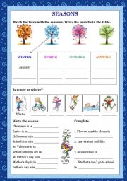 English Worksheet: SEASONS - Exercices
