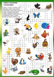 English Worksheet: ANIMALS CROSSWORD - FOR BEGINNERS + B&W