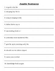 English worksheets: jumble sentence