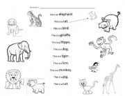 English Worksheets: WORKSHEET WITH ANIMALS