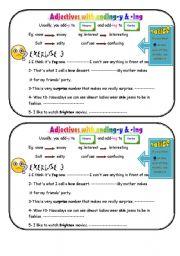 worksheet: Adjectives ending -y & - ing
