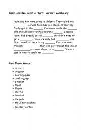 English Worksheet: Airport Vocabulary  cloze exercise