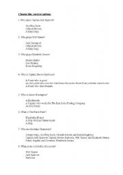English Worksheet: The pirates of the Caribbean �THE CURSE OF THE BLACK PEARL�